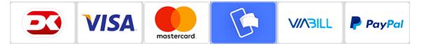 Du kan betale med Dankort, VISA, MasterCard, Mobile Pay, ViaBill and PayPal